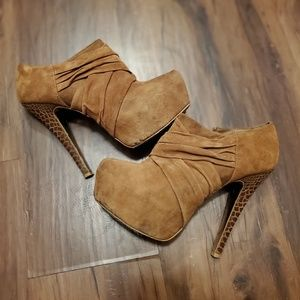 Halston booties with snakeskin heel